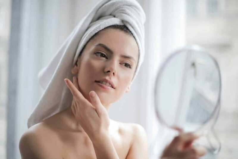 Woman after a successful facial cleanup at home