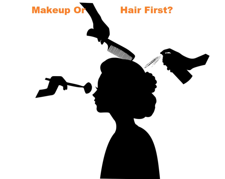 makeup or hair first